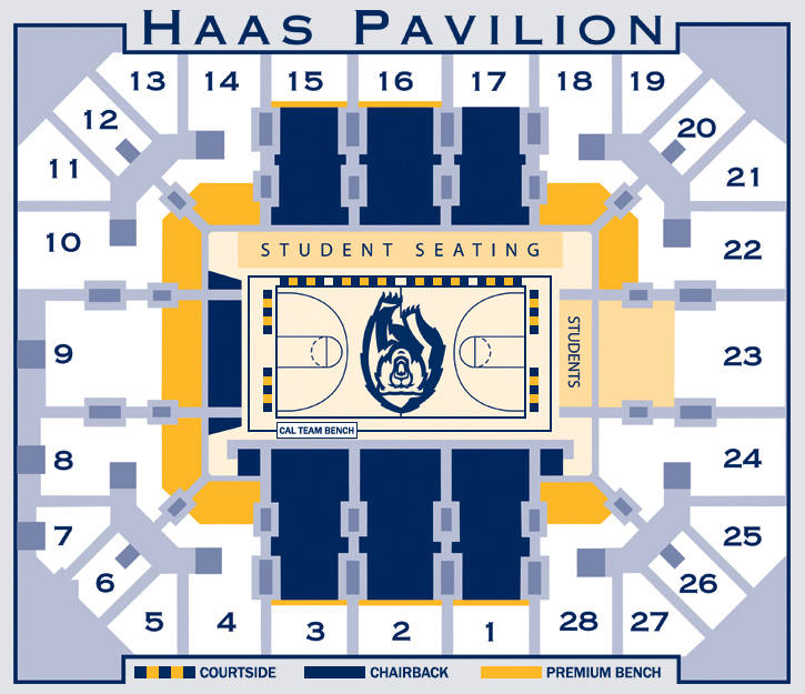 Men s basketball seating university of california golden bears
